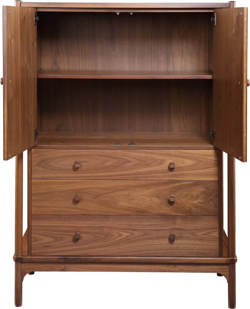 Tall chest with open doors and three drawers